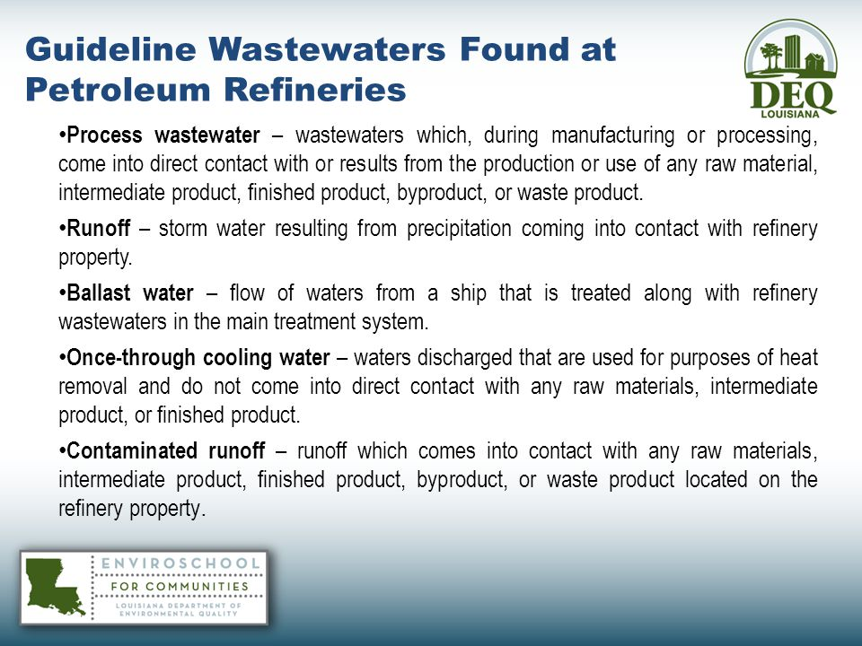 Guideline Wastewaters Found at Petroleum Refineries