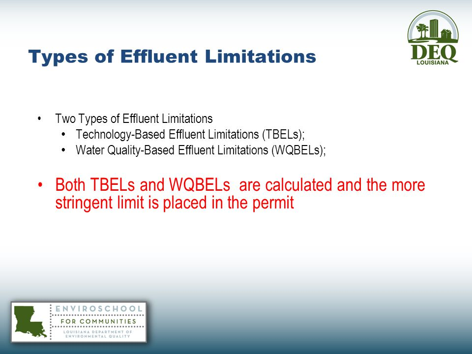 Types of Effluent Limitations