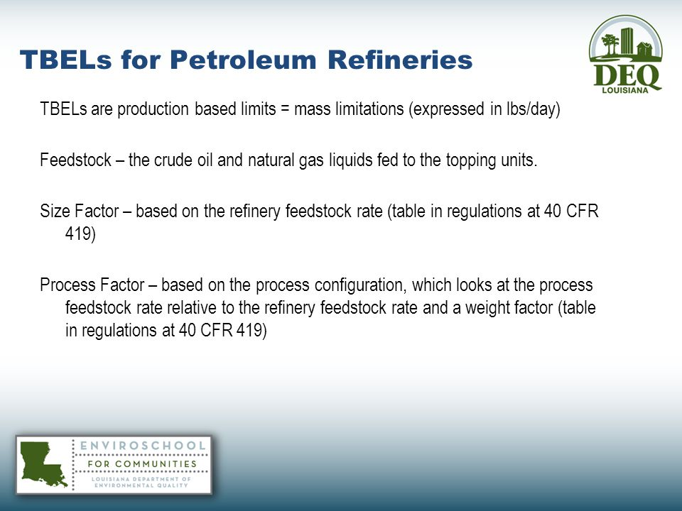 TBELs for Petroleum Refineries