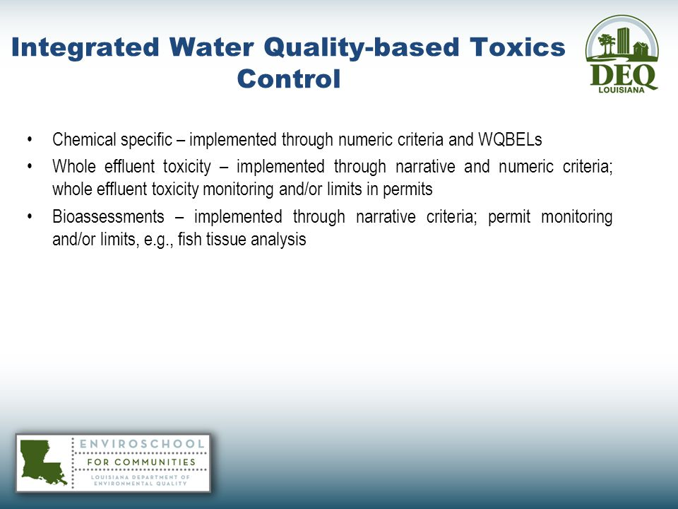 Integrated Water Quality-based Toxics Control