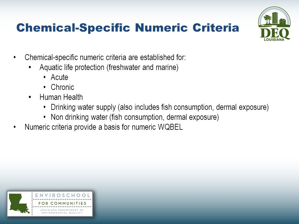 Chemical-Specific Numeric Criteria
