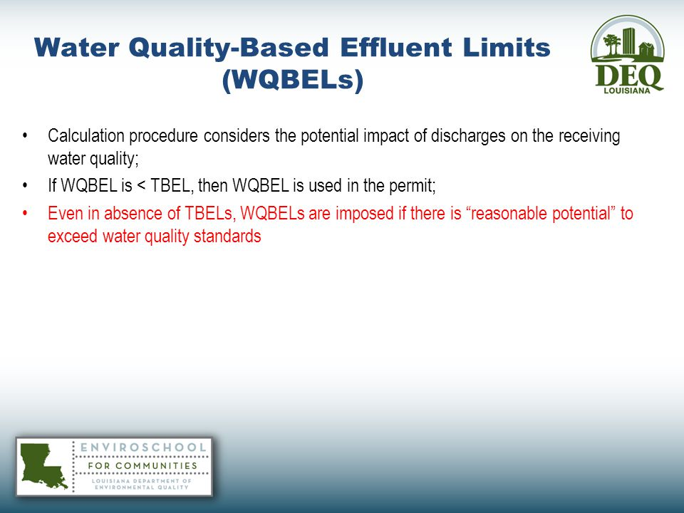 Water Quality-Based Effluent Limits (WQBELs)