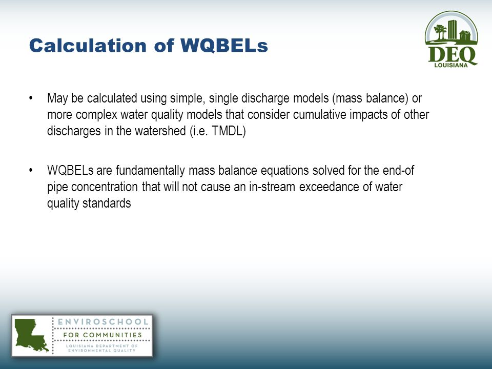 Calculation of WQBELs