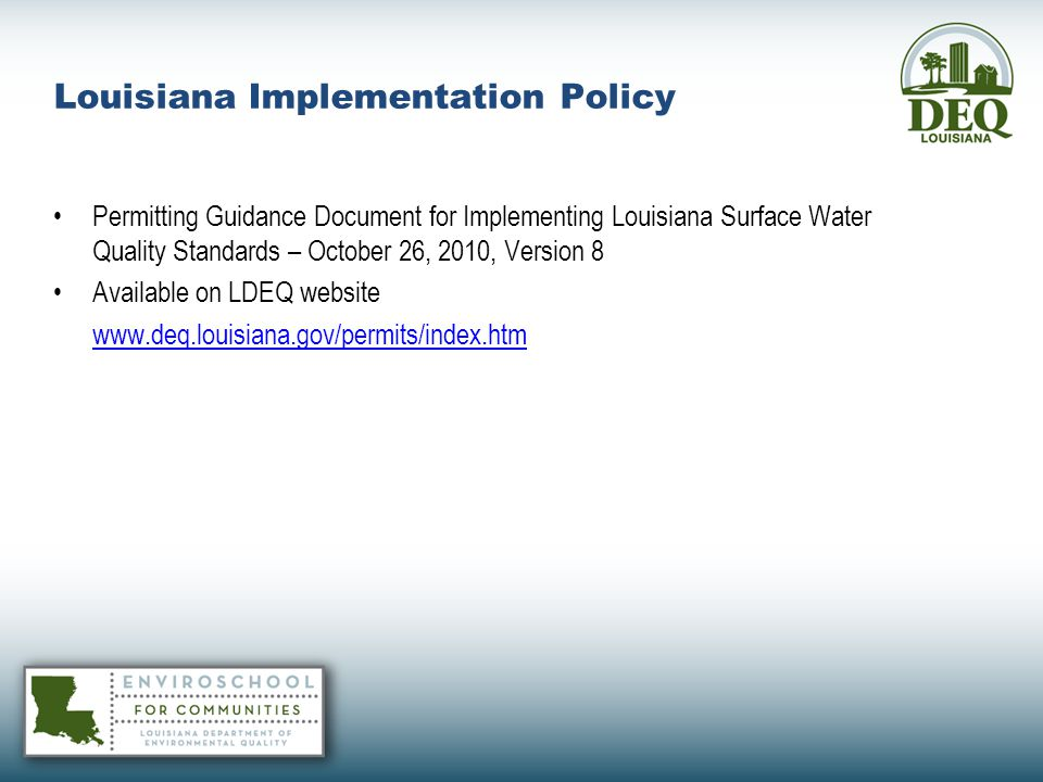 Louisiana Implementation Policy