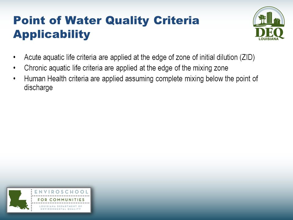 Point of Water Quality Criteria Applicability