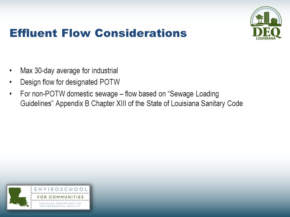 Effluent Flow Considerations