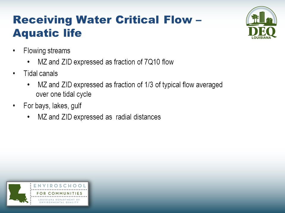 Receiving Water Critical Flow – Aquatic life