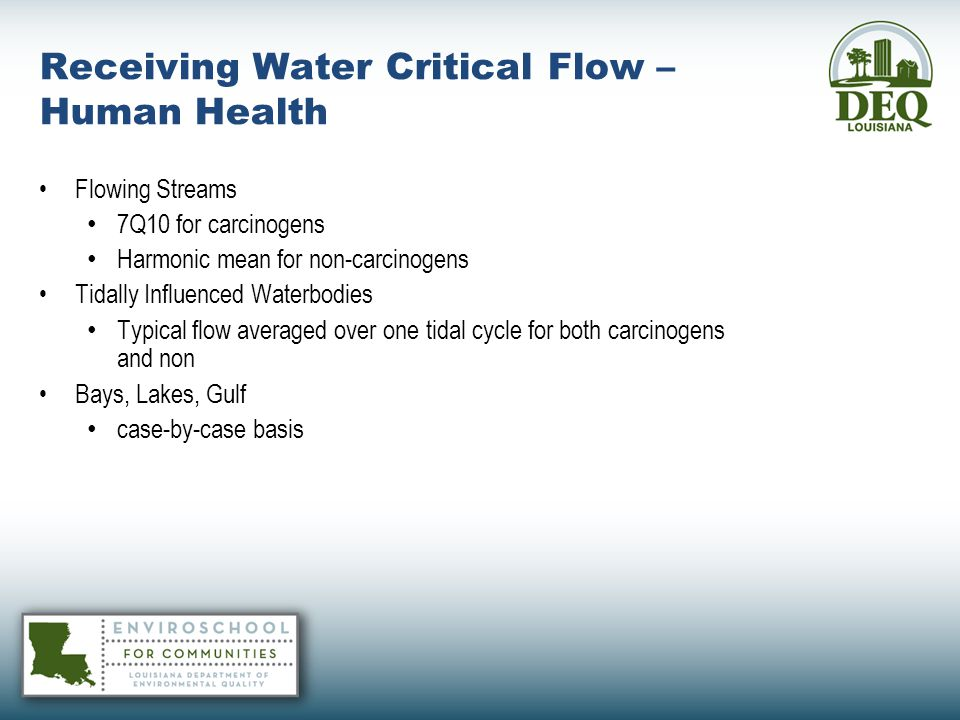 Receiving Water Critical Flow – Human Health