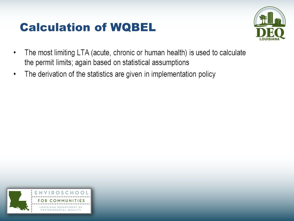 Calculation of WQBEL