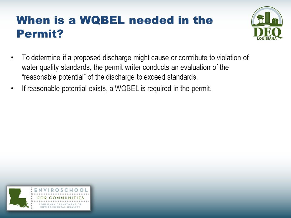 When is a WQBEL needed in the Permit