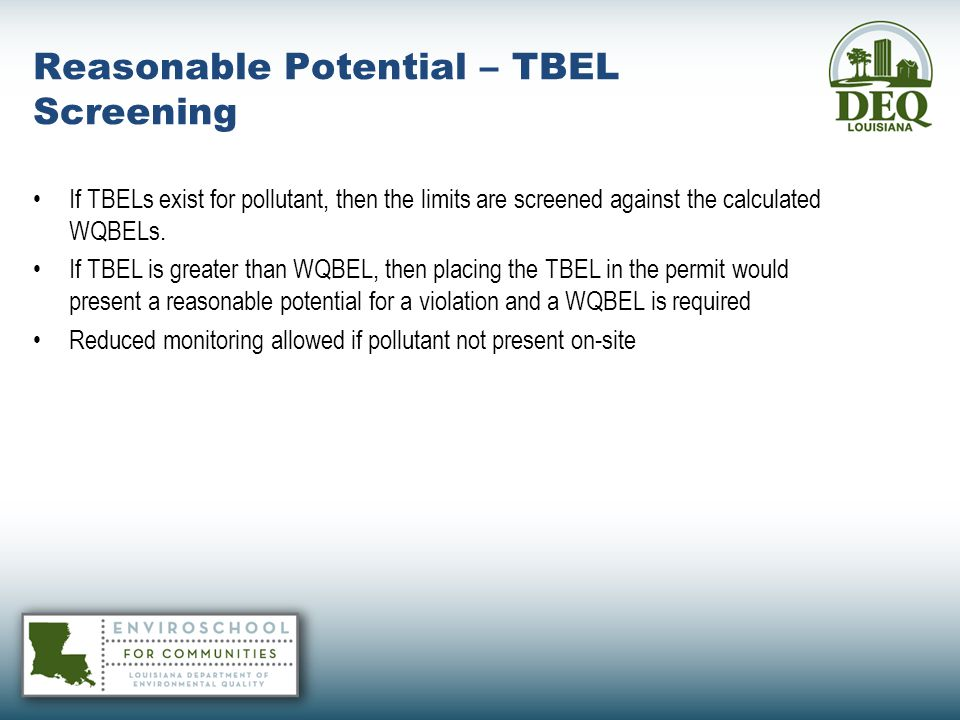 Reasonable Potential – TBEL Screening