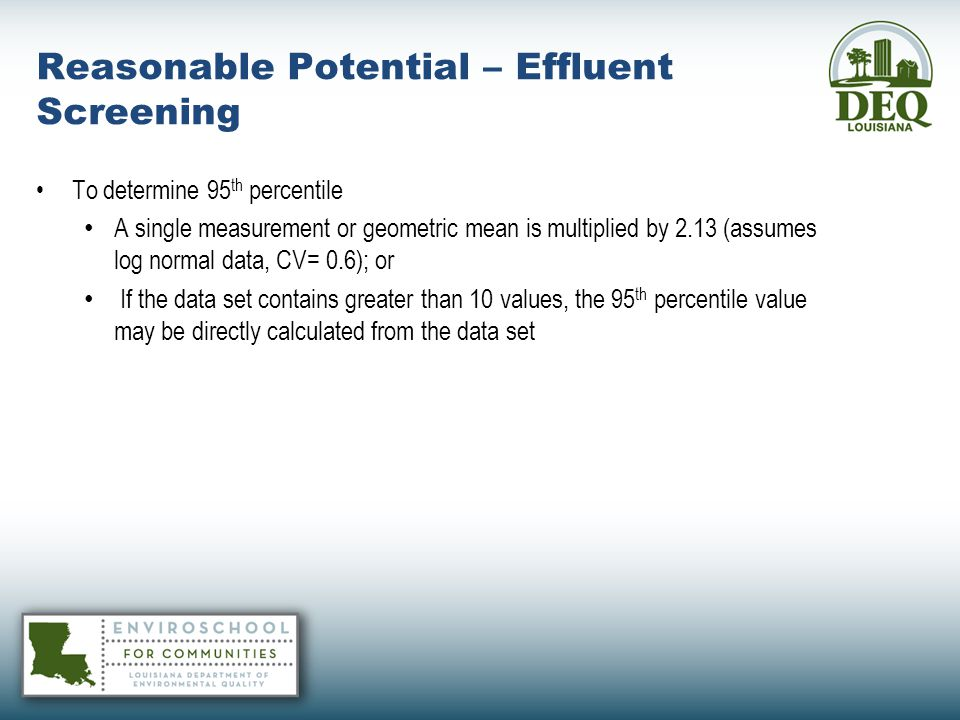 Reasonable Potential – Effluent Screening