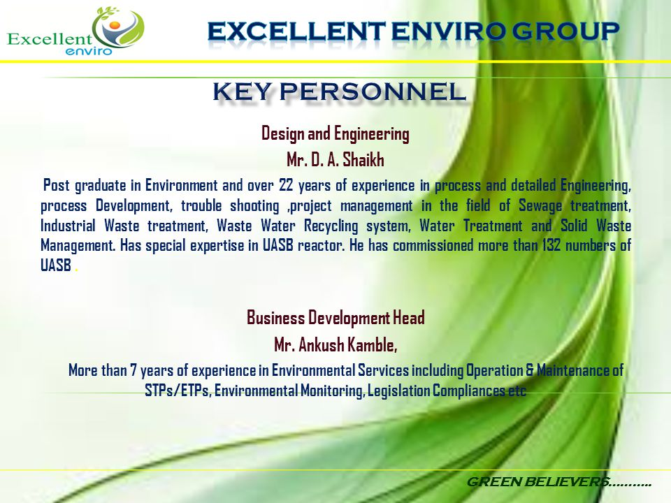 EXCELLENT ENVIRO GROUP KEY PERSONNEL