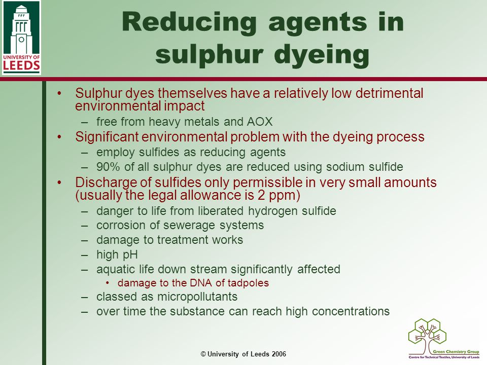 Reducing agents in sulphur dyeing