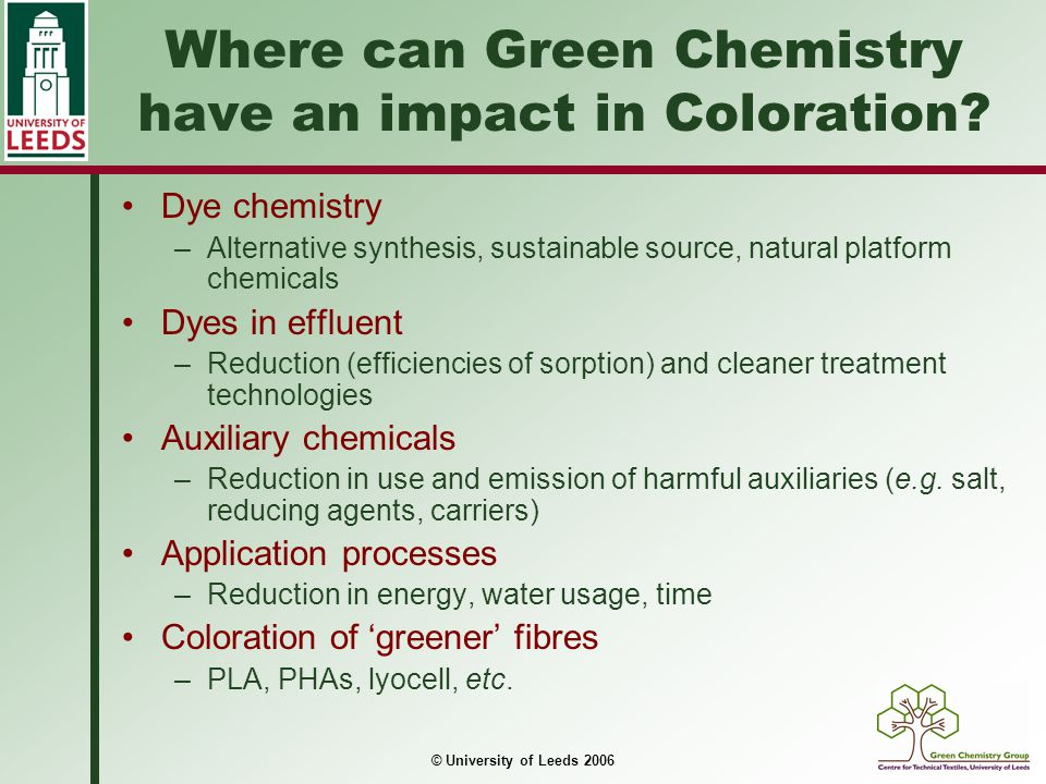 Where can Green Chemistry have an impact in Coloration