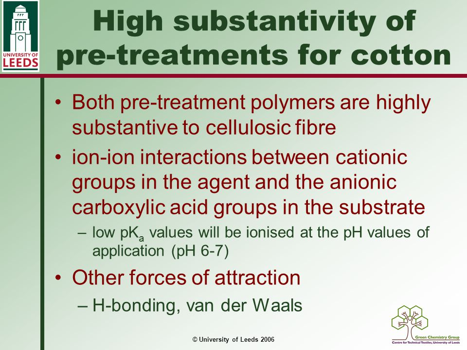 High substantivity of pre-treatments for cotton