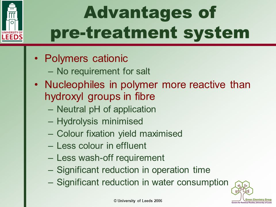Advantages of pre-treatment system