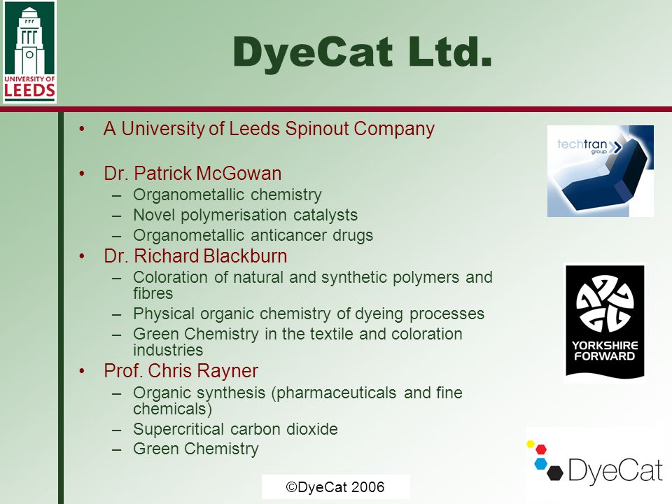 DyeCat Ltd. A University of Leeds Spinout Company Dr. Patrick McGowan