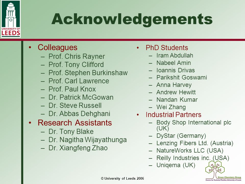 Acknowledgements Colleagues Research Assistants PhD Students