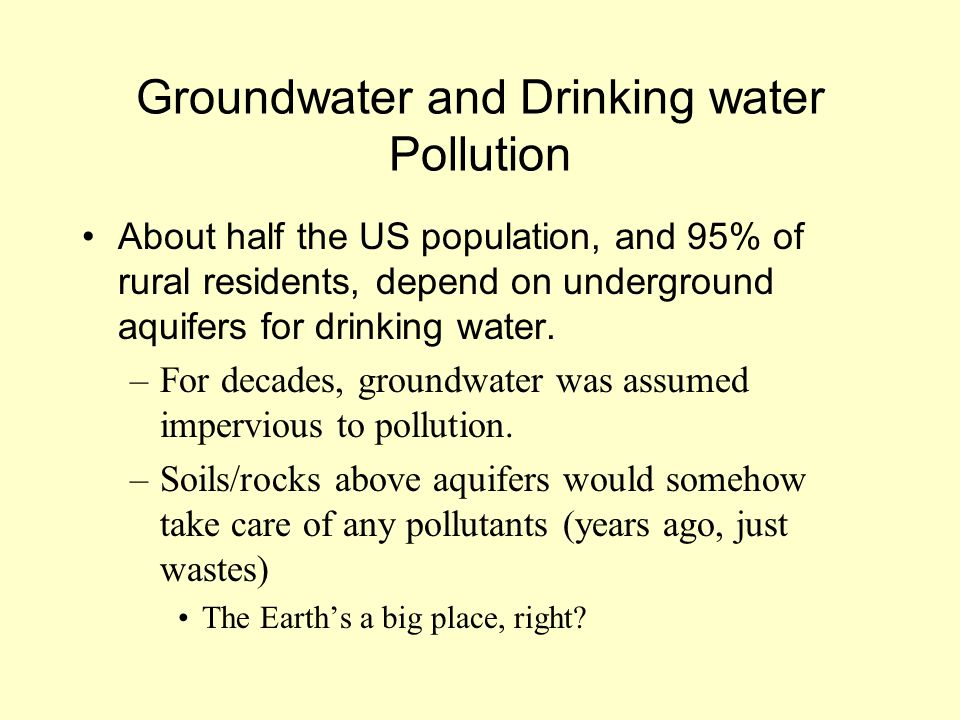 Groundwater and Drinking water Pollution