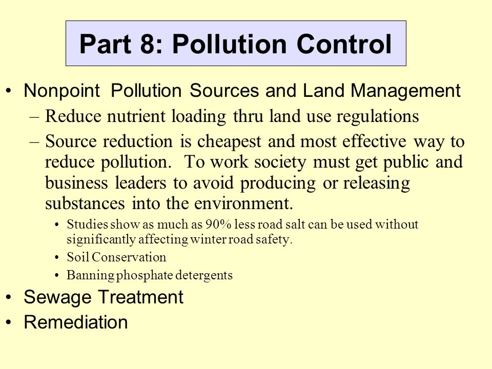 Part 8: Pollution Control