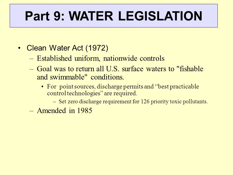 Part 9: WATER LEGISLATION