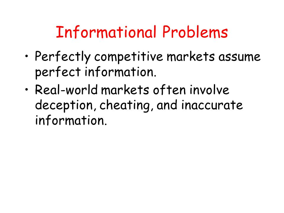Informational Problems
