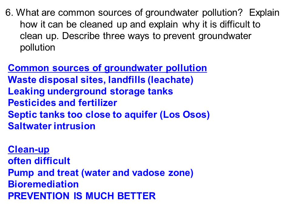6. What are common sources of groundwater pollution