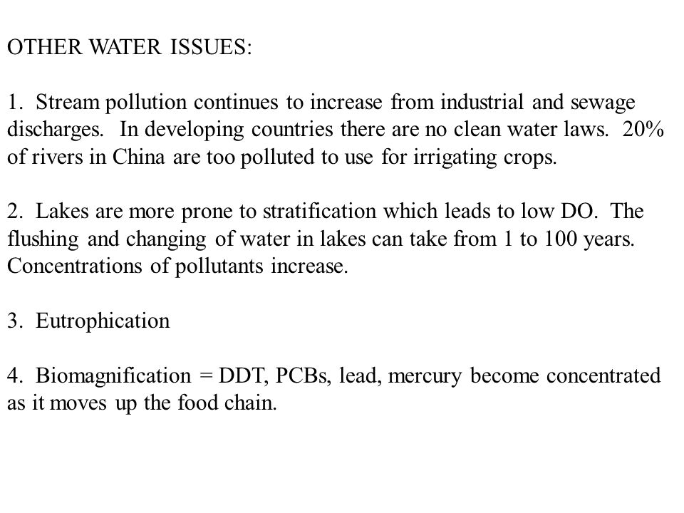 OTHER WATER ISSUES: