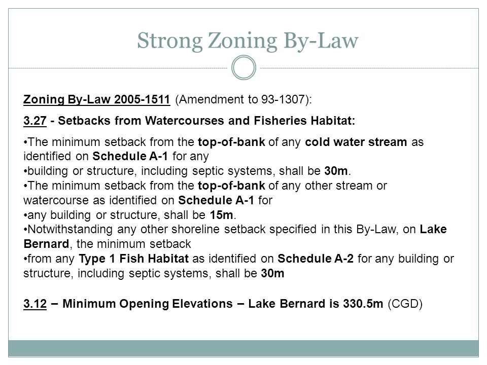 Strong Zoning By-Law Zoning By-Law 2005-1511 (Amendment to 93-1307):