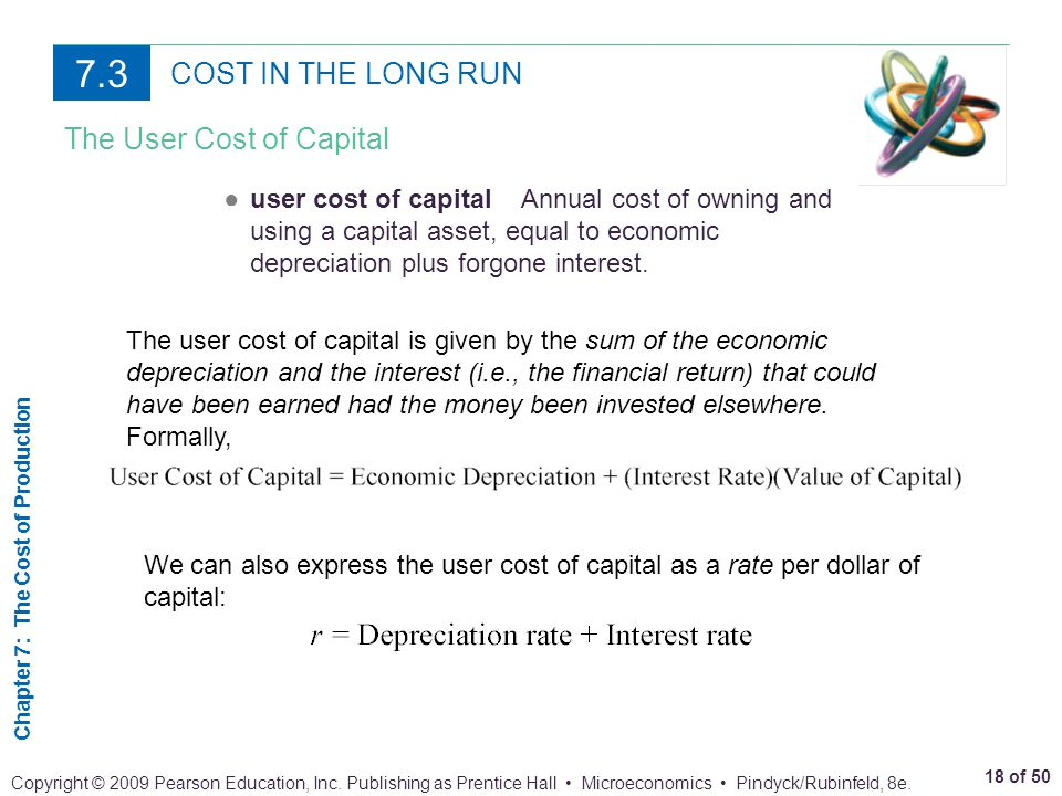 7.3 COST IN THE LONG RUN The User Cost of Capital