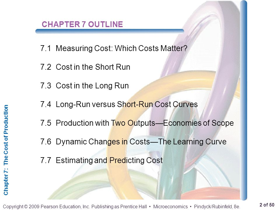 CHAPTER 7 OUTLINE 7.1 Measuring Cost: Which Costs Matter 7.2 Cost in the Short Run. 7.3 Cost in the Long Run.