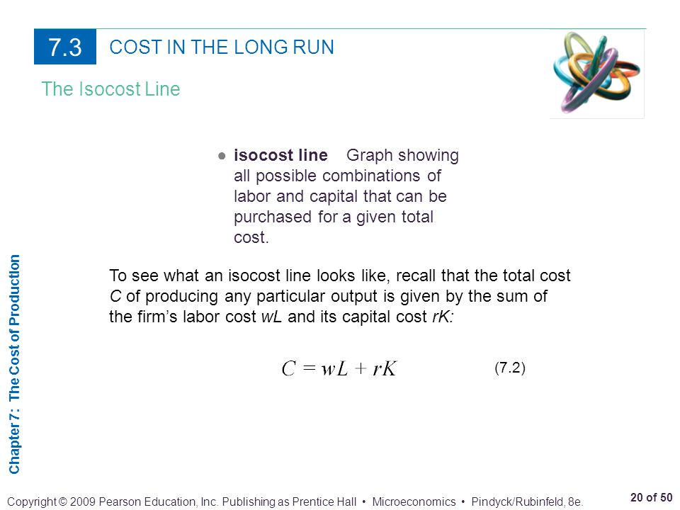 7.3 COST IN THE LONG RUN The Isocost Line