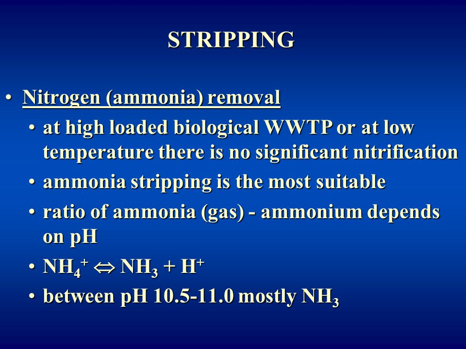 STRIPPING Nitrogen (ammonia) removal