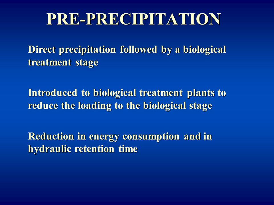 PRE-PRECIPITATION Direct precipitation followed by a biological treatment stage.