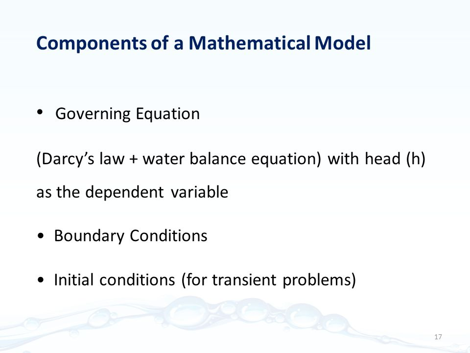 Components of a Mathematical Model Governing Equation