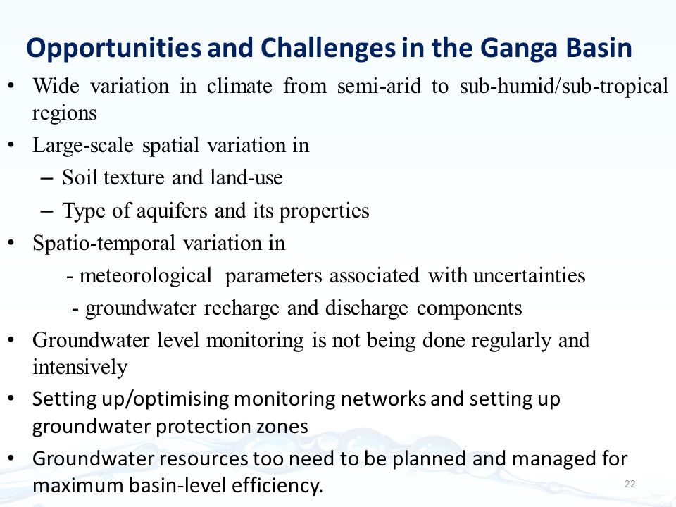 Opportunities and Challenges in the Ganga Basin