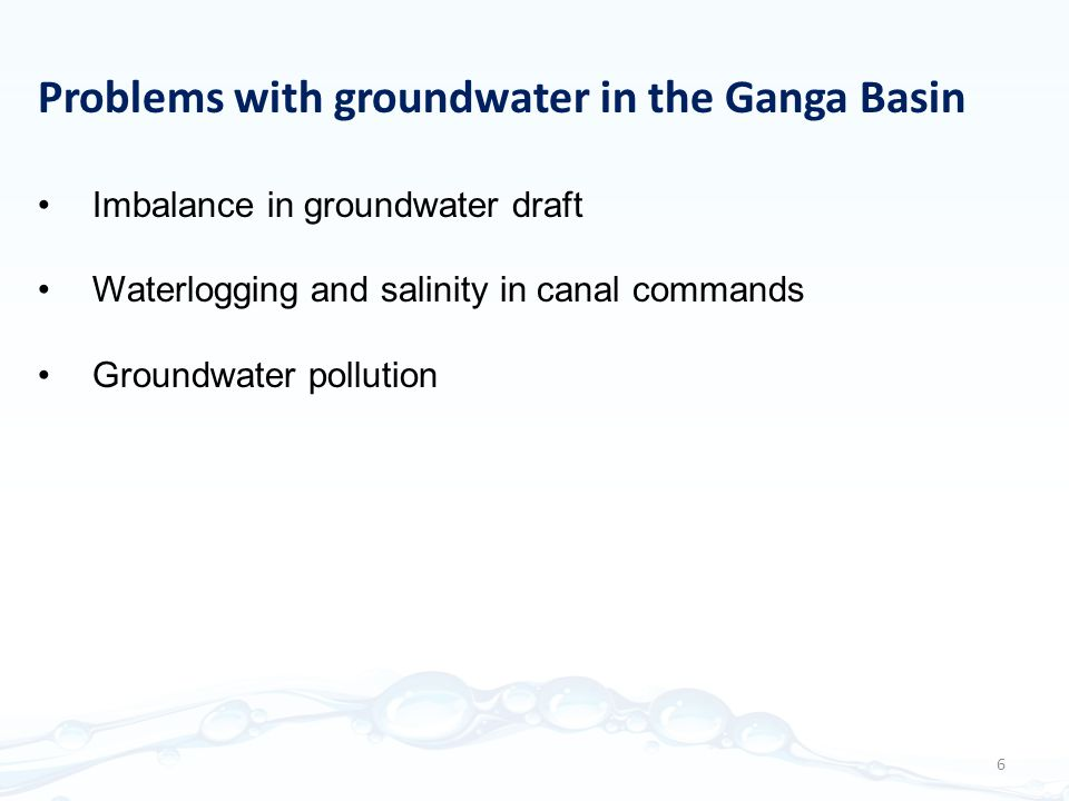 Problems with groundwater in the Ganga Basin