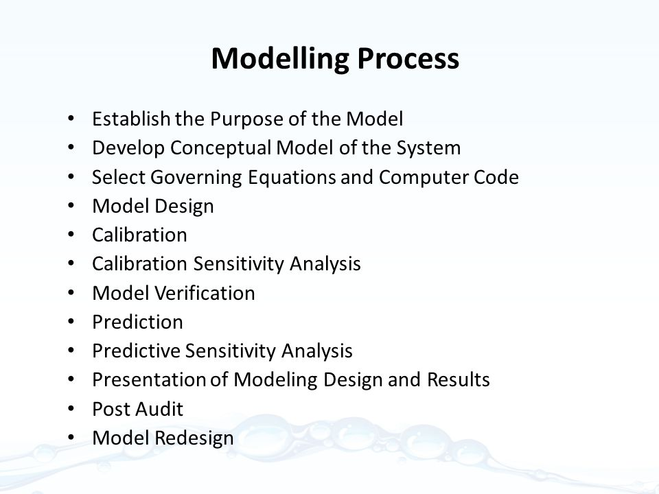 Modelling Process Establish the Purpose of the Model