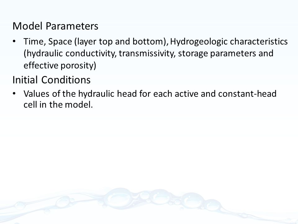 Model Parameters Initial Conditions