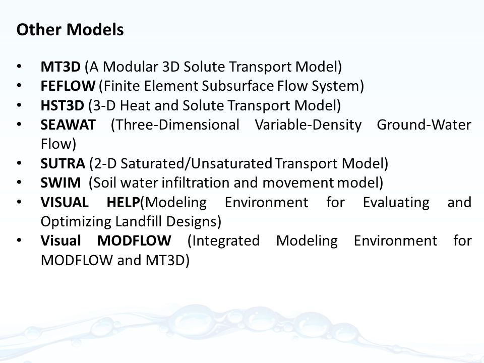 Other Models MT3D (A Modular 3D Solute Transport Model)