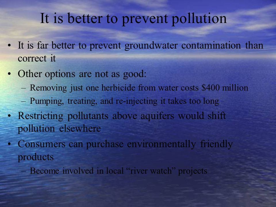 It is better to prevent pollution