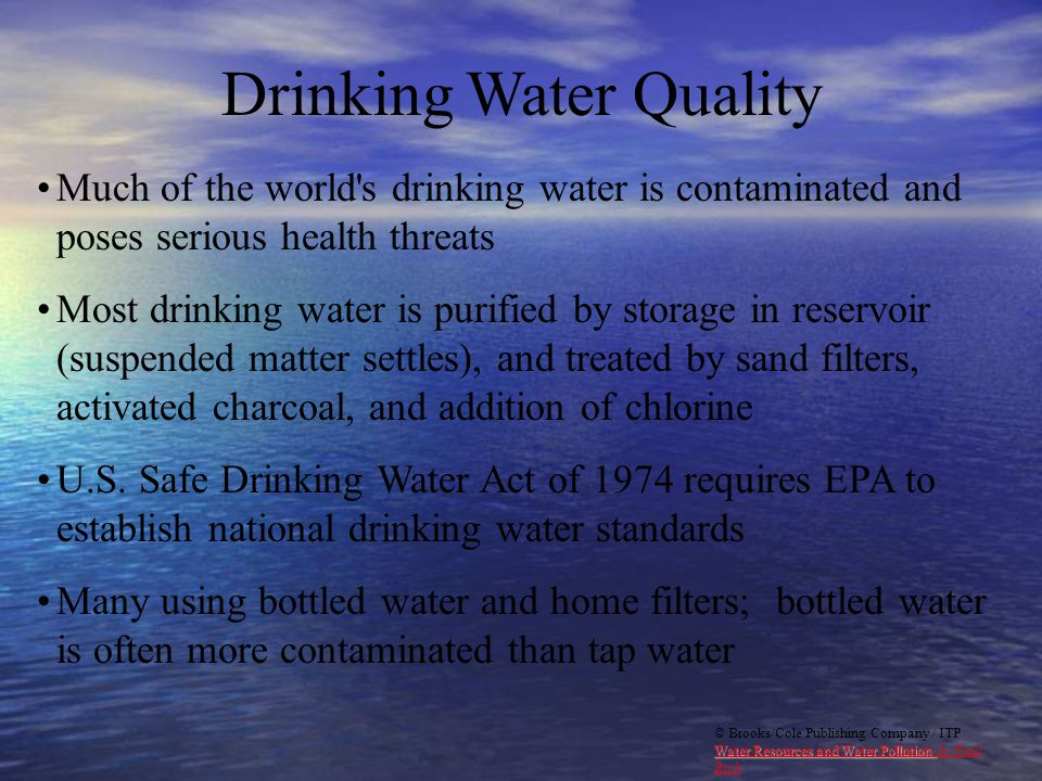 drinking water qualty and water pollution essay Learn about epa's work to protect and study national waters and supply systems subtopics include drinking water, water quality and monitoring, infrastructure and resilience.