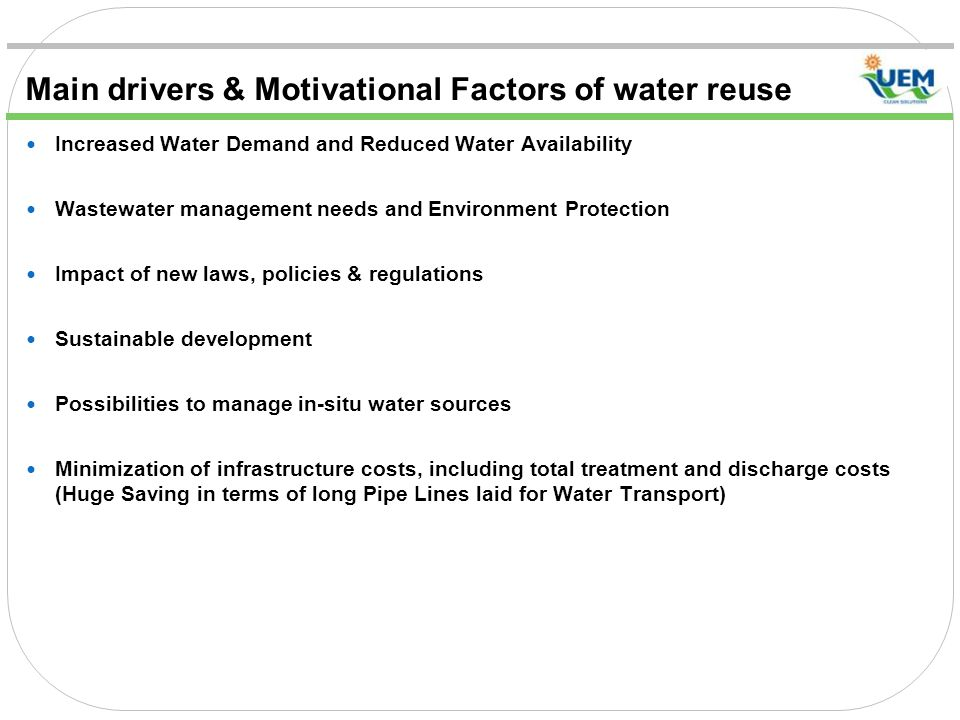 Main drivers & Motivational Factors of water reuse