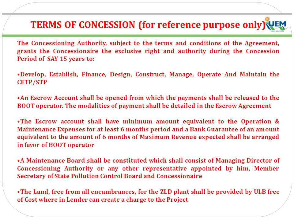 TERMS OF CONCESSION (for reference purpose only)