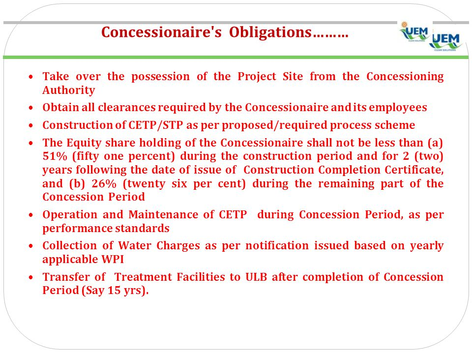 Concessionaire s Obligations………