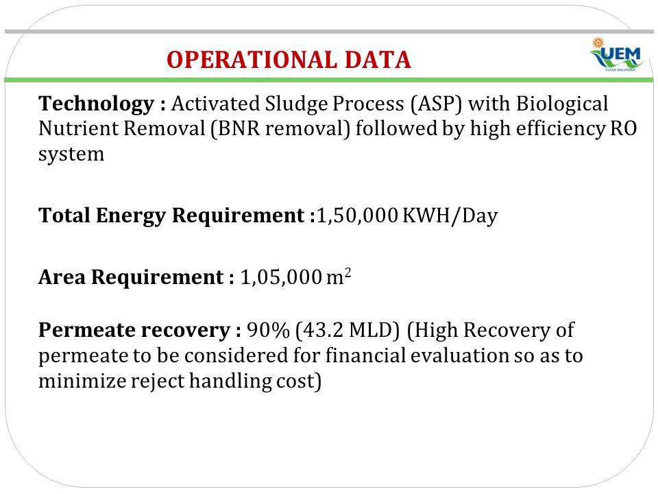 OPERATIONAL DATA Technology : Activated Sludge Process (ASP) with Biological Nutrient Removal (BNR removal) followed by high efficiency RO system.