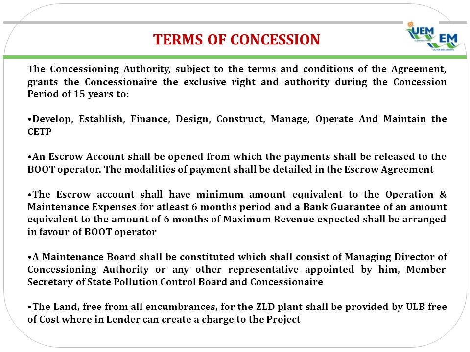 TERMS OF CONCESSION