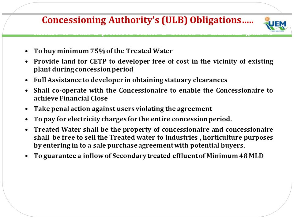 Concessioning Authority s (ULB) Obligations…..