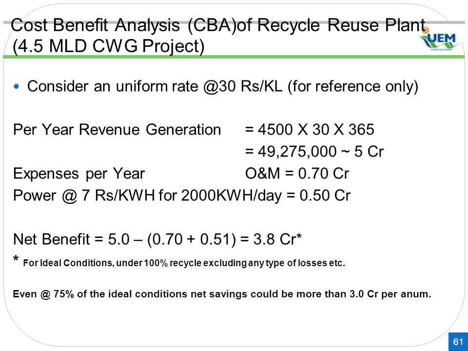 Cost Benefit Analysis (CBA)of Recycle Reuse Plant (4